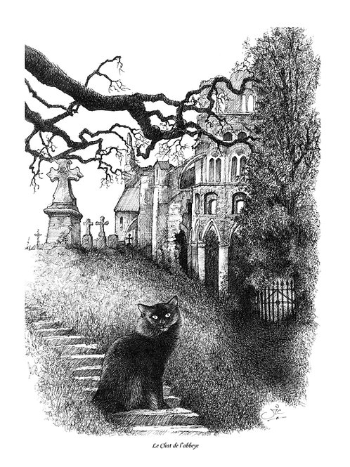 'Le Chat De L'Abbaye' Original Drawing