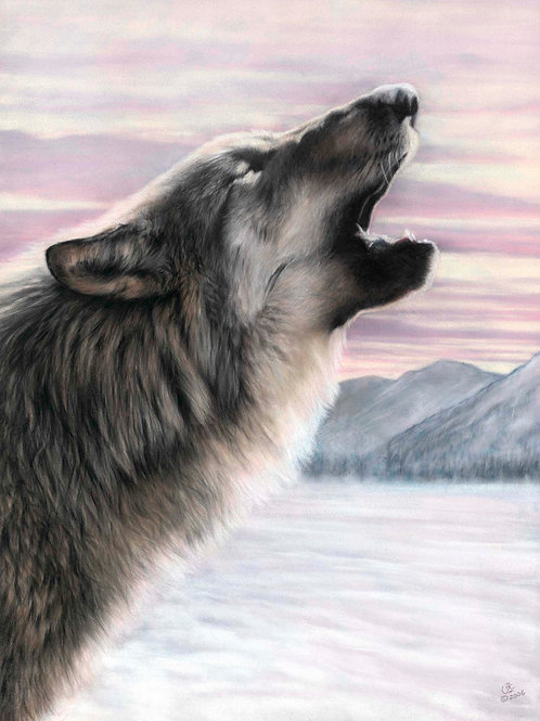 Long Distance Call - Original Wolf in Pastel