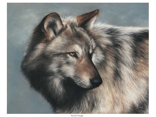 'PAUSE FOR THOUGHT' LIMITED EDITION WOLF PRINT