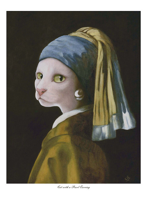 'Cat with a Pearl Earring' Open Edition Cat Print