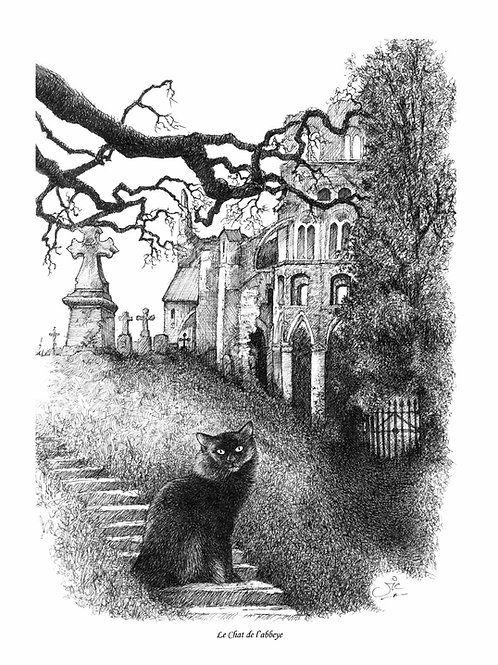 'LE CHAT DE L'ABBEYE' OPEN EDITION GOTHIC PRINT