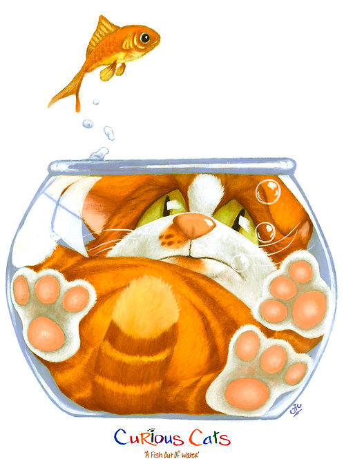 'A FISH OUR OF WATER' LIMITED EDITION CAT PRINT