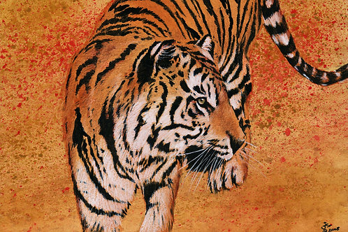 Asian Gold - Original Tiger in Mixed Media