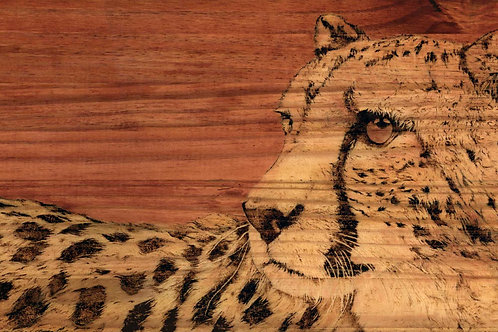 Burnt Amber - Original Cheetah Pyrography