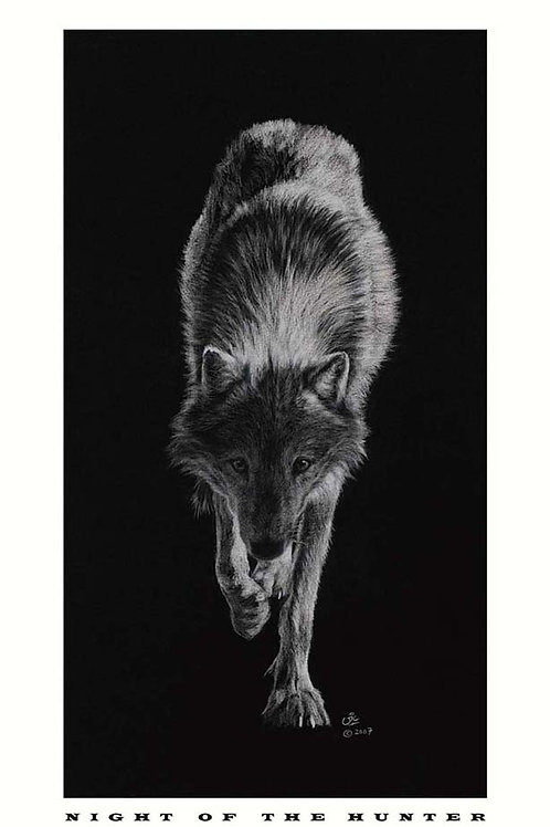 'NIGHT OF THE HUNTER' OPEN EDITION WOLF PRINT
