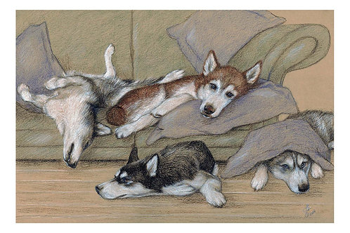 'DOWN TIME' OPEN EDITION HUSKY PRINT