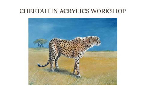 Cheetah in Acrylics Workshop Kit