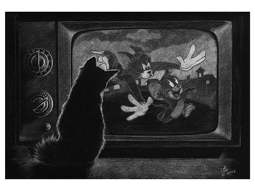 'ULTIMATE TV DINNER' OPEN EDITION CAT PRINT