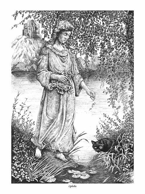 'OPHELIA' OPEN EDITION GOTHIC PRINT