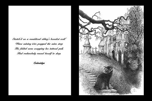 'LE CHAT DE L'ABBEYE' MOUNTED OPEN EDITION PRINT AND ACCOMPANYING VERSE