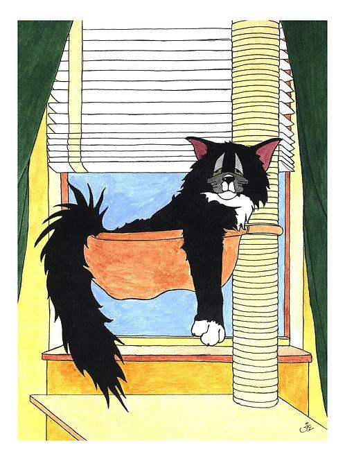 'CAT NAPPING' OPEN EDITION CAT CARTOON PRINT