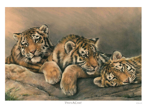 'THREE'S A CROWD' LIMITED EDITION AMUR TIGER CUB PRINT