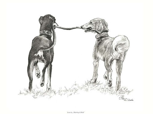 Love is... Sharing a Stick - Open Edition Hound Print