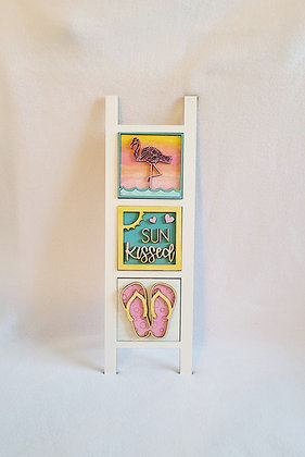 Leaning ladder sign with 3  interchangeable inserts BEACH THEME