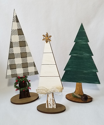 3 wooden Christmas trees