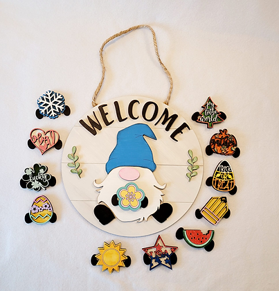 Welcome Gnome interchangeable sign