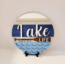 Lake sign with stand