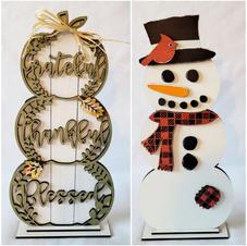 2 sided pumpkin snowman