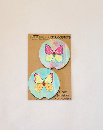 Butterfly butterflie car coasters sandstone car cup holder spring summer vehicle