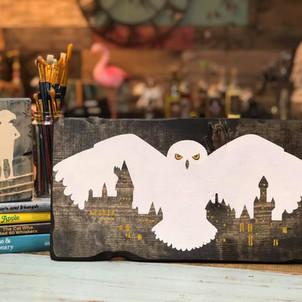 Snowy Owl Over Castle
