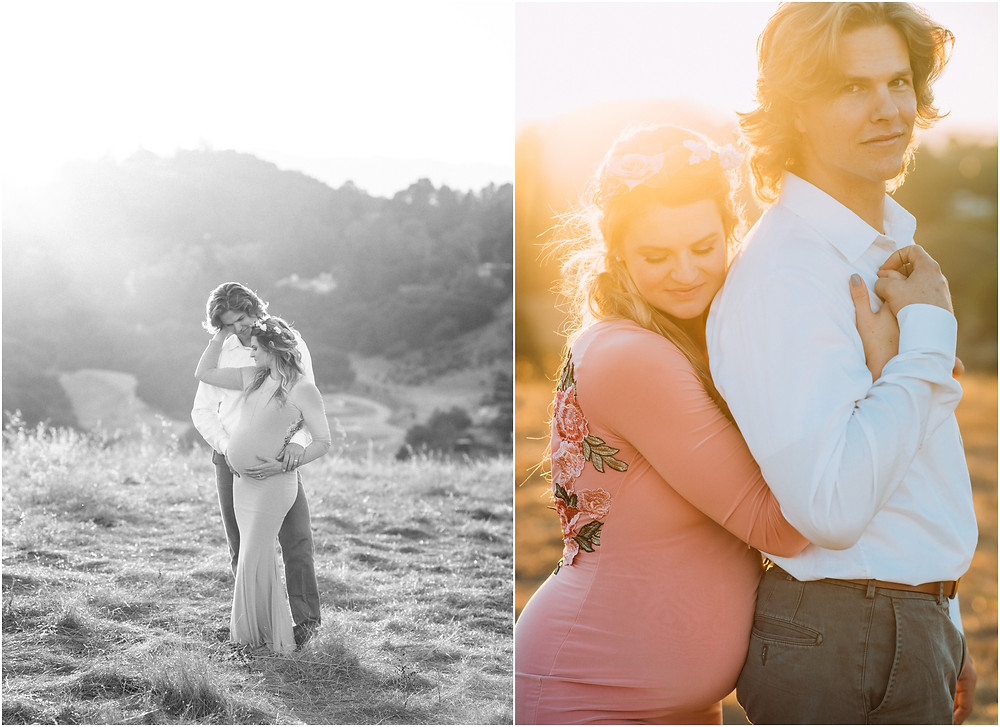 Couple standing in field during sunset in San Jose, Ca for Maternity portraits