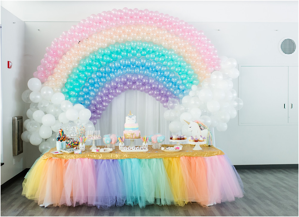Pullback of unicorn birthday party with balloon rainbow and unicorn decorations