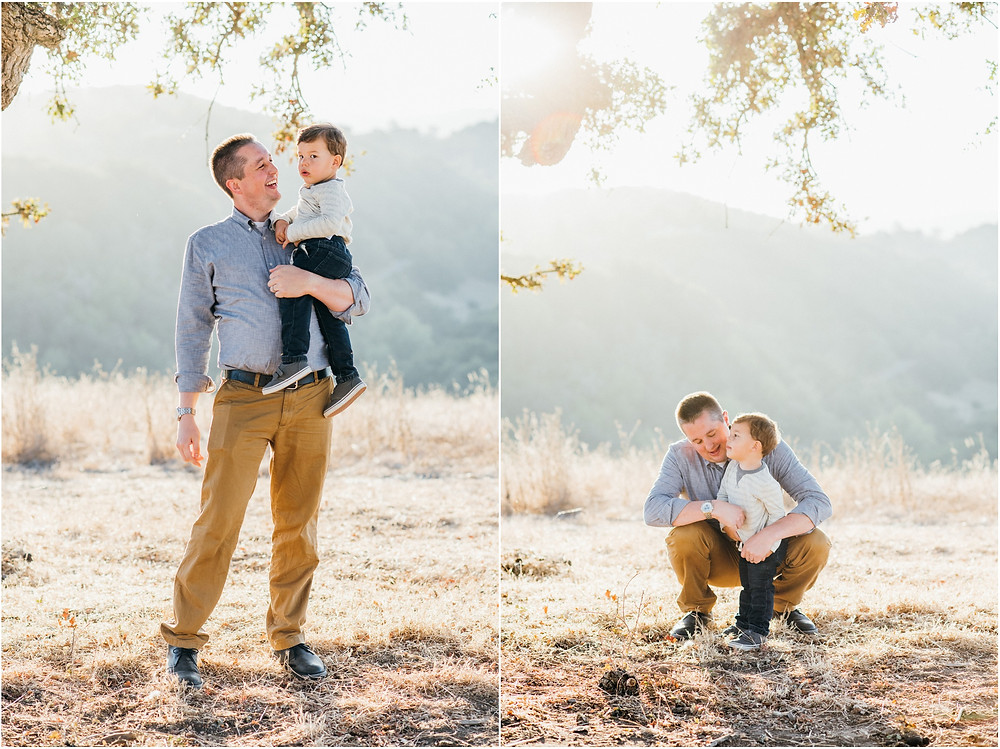 Dad and little boy in open field during golden hour