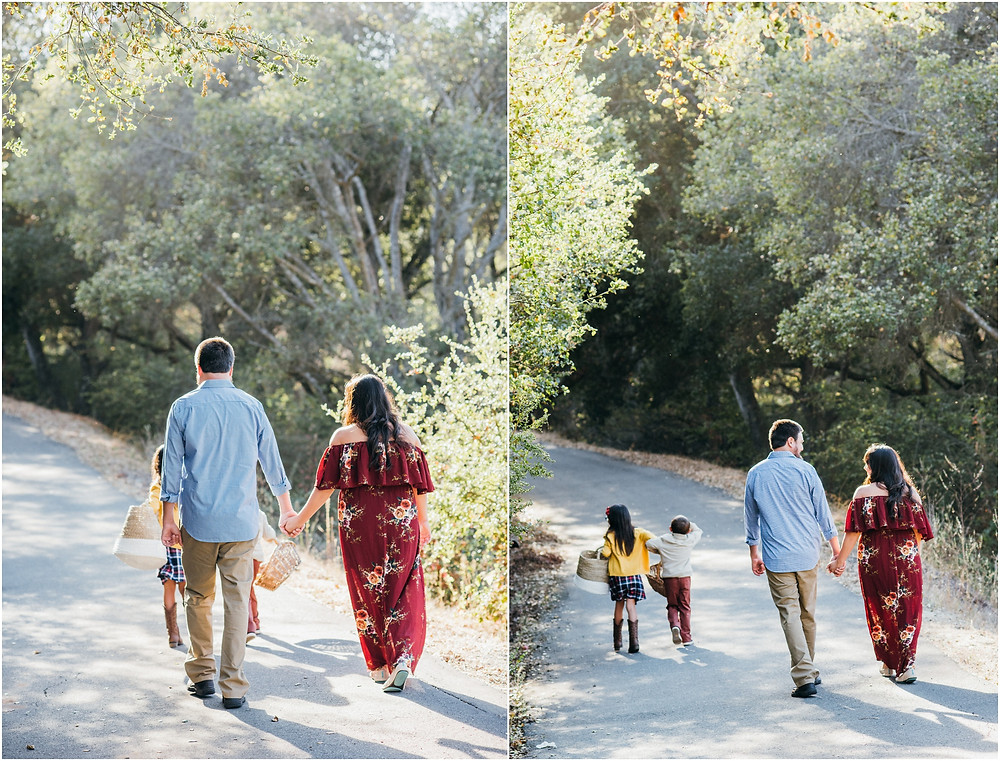 family walking on bay area trail during evening session