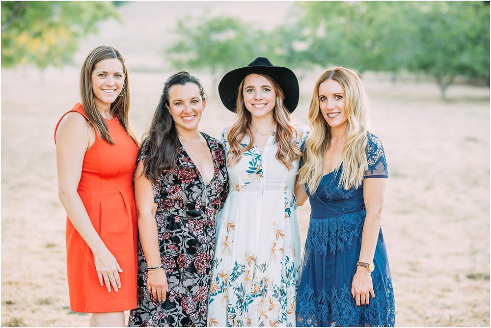 Group of girlfriends in open field in Portola Valley, Ca