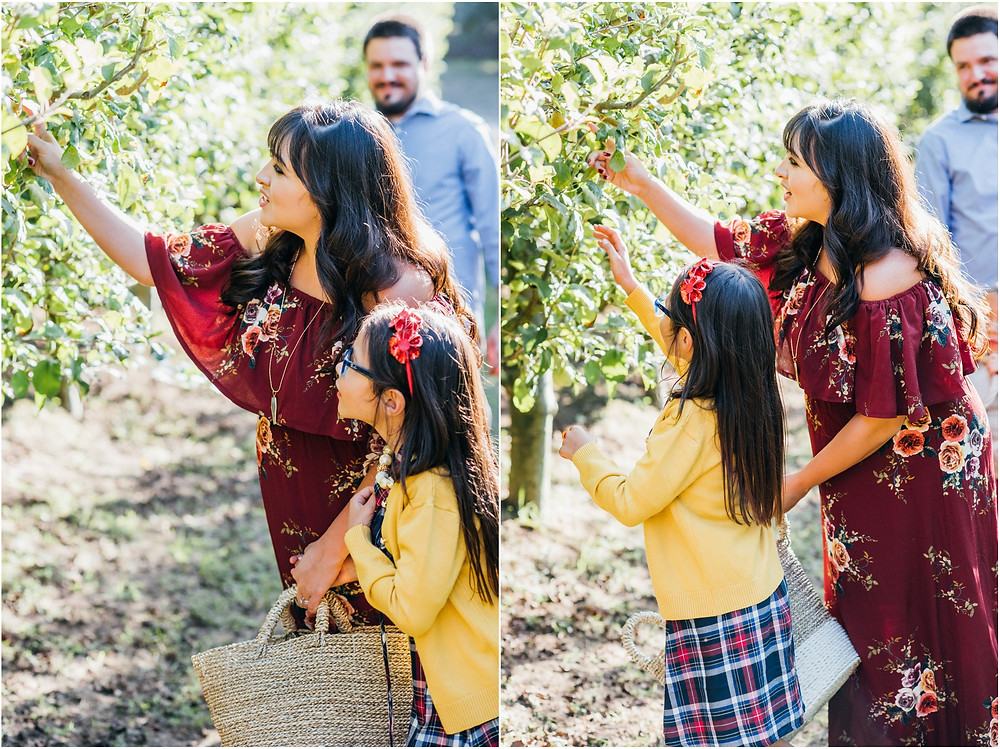 mom helping kids find apples in orchard