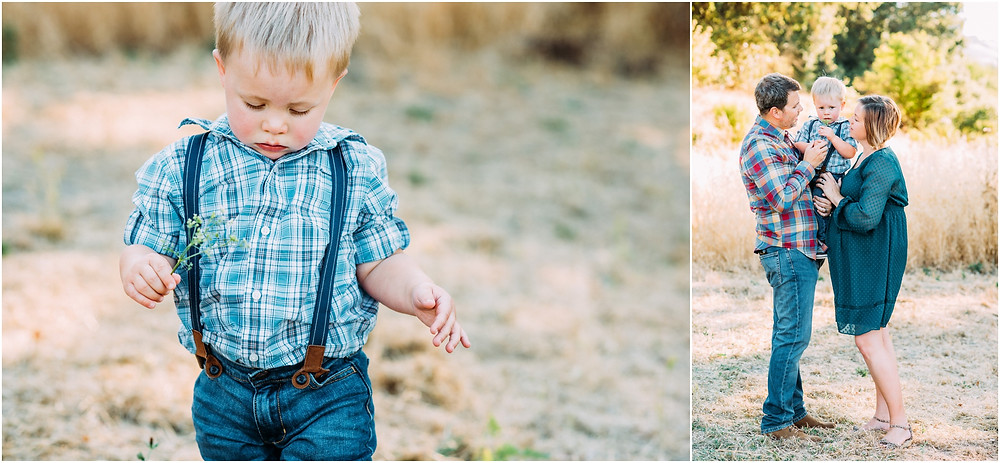 Family of three in front of barn in San Jose, Ca for maternity session