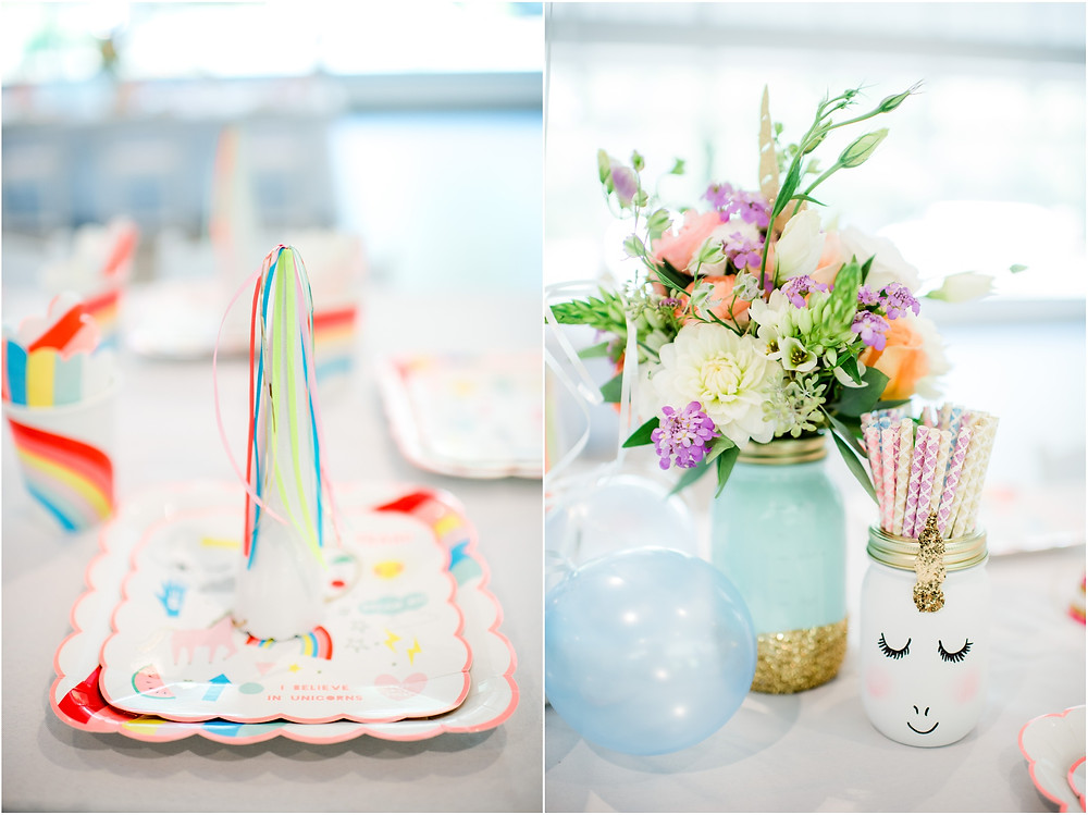 Table decorations for unicorn party in Bay Area