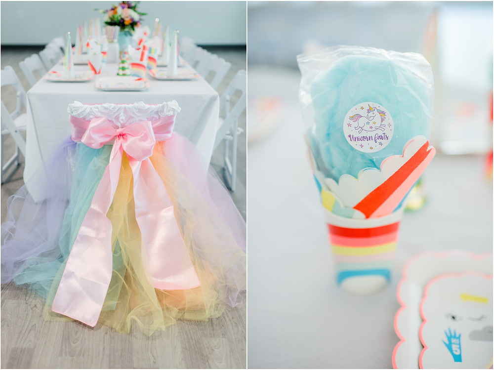 Unicorn party details with cotton candy and Meri Meri decorations