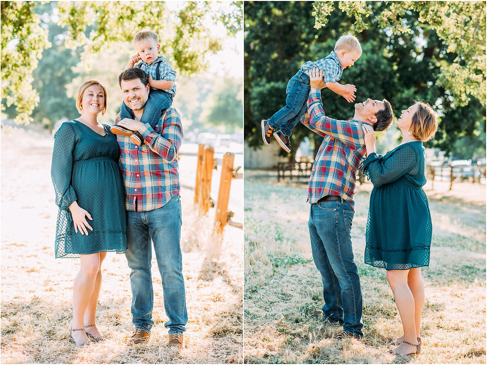 Dad tossing little boy in the air for maternity pictures in San Jose