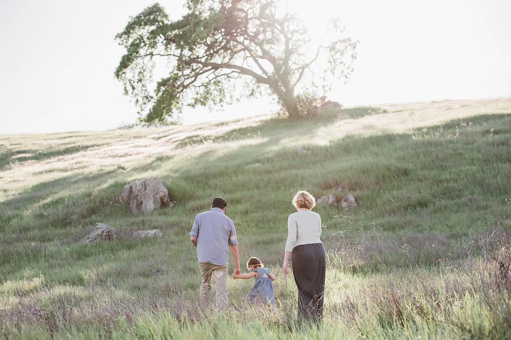 Family walking up rolling hills in San Jose towards oak tree
