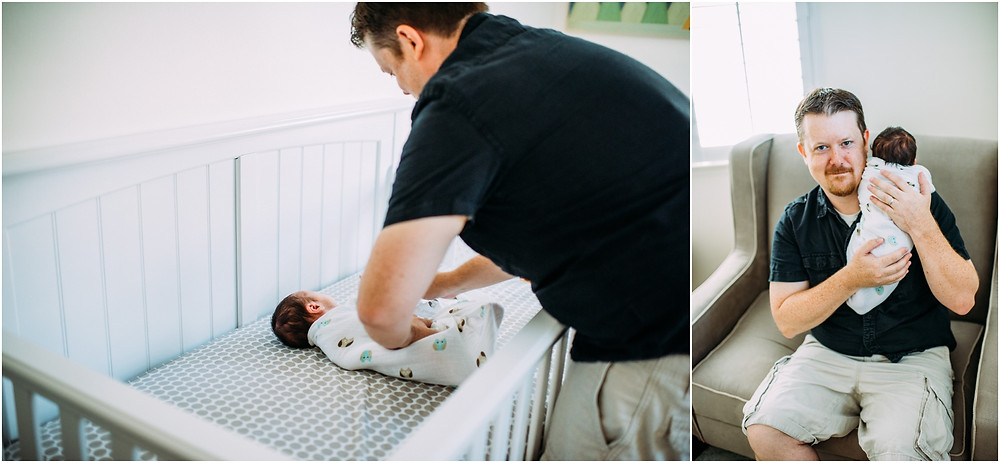 Dad swaddling baby in nursery in San Jose, Ca