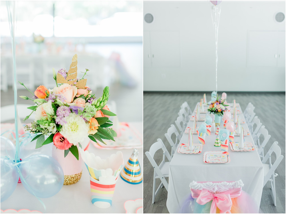 Flower centerpieces at unicorn birthday party