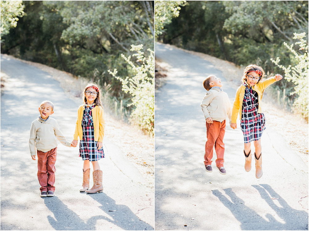 sibling portraits during golden hour in san jose, ca