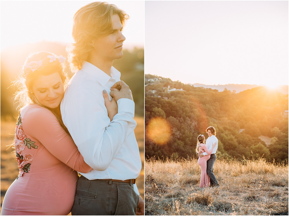 Wife holding on to husband from behind during sunset in San jose for maternity photos