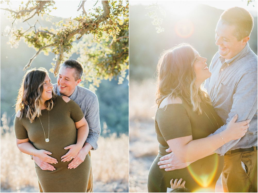 Maternity photos at sunset in open field in Palo Alto, Ca