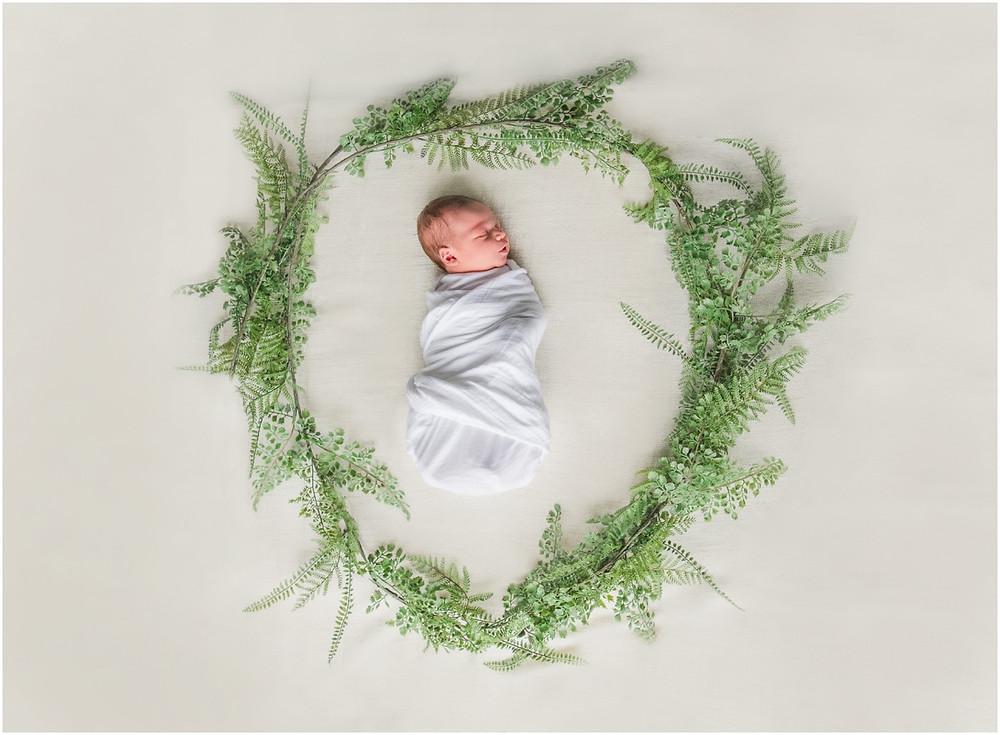 Newborn girl framed in vines and greenery