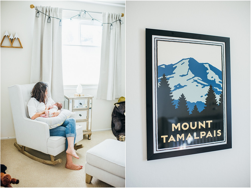 Mom nursing newborn in Pottery Barn rocker and Mount Tamalpais print