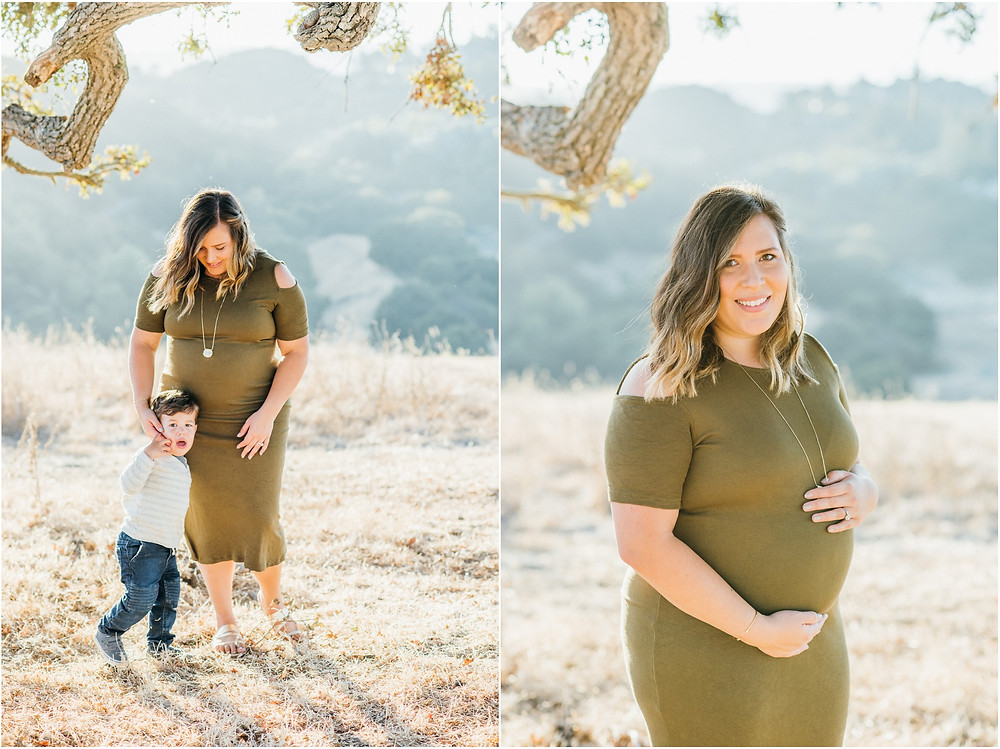 Pregnant mom wearing army green dress