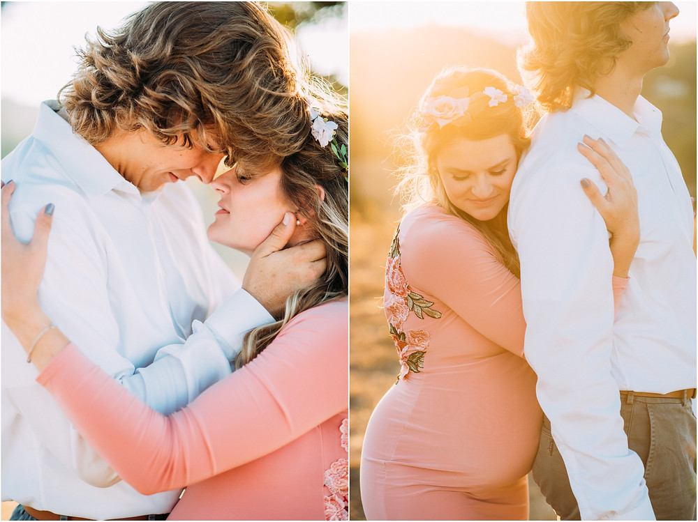 Couple embracing each other for maternity pictures in San Jose, Ca