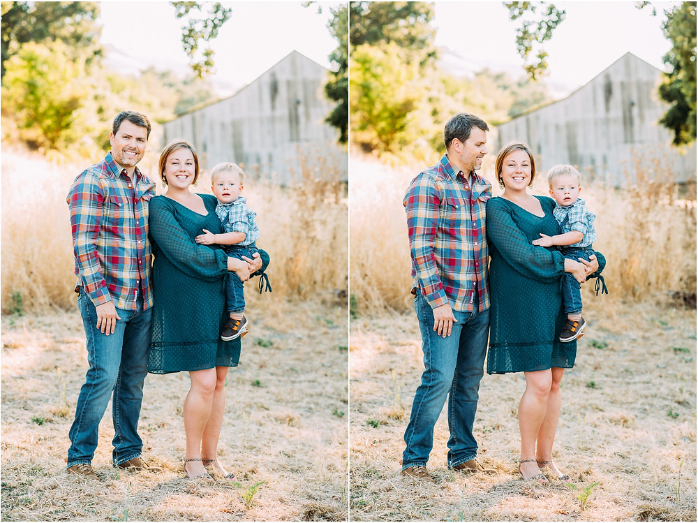 Family in front of rustic barn in San Jose, Ca for maternity photos