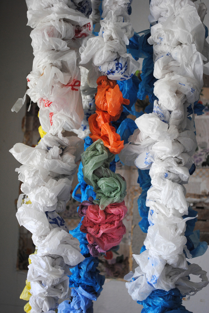 Ghost (detail), 2017, Site-specific installation, plastic bags, toilet paper tubes, monofilament.