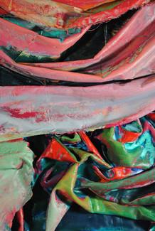 "Drape (detail), 2018, acrylic, latex, fabric on wood stretcher, 31""W x 36"" H x 4""D"