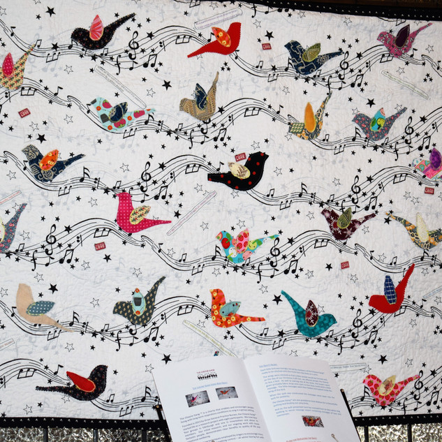 The quilt hanging in the Charteris Centre