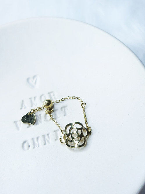 Gold Rose Pull Style Adjustable Chain Rings