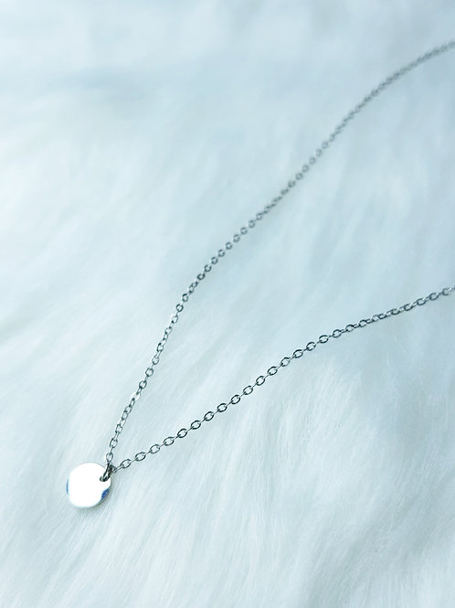 Silver Smooth Disc Minimalist Necklace